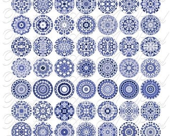 Blue and White Chintzware Tiles - One Inch Circles - Digital Collage Sheet - INSTANT DOWNLOAD