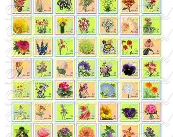 Flower Postage Stamps - 3 sizes - Inchies, 7-8 inch, AND scrabble tile size .75 x .83 inch - Digital Collage Sheet - INSTANT DOWNLOAD
