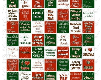 Christmas Holiday Words and Phrases - Inchies, 7-8 inch, AND scrabble tile size .75 x .83 inch - Digital Collage Sheet - INSTANT DOWNLOAD