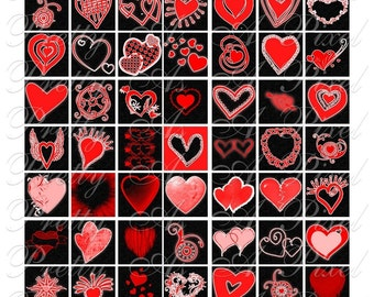 Heart-O-Mania - Hearts in Red & Black - 3 sizes - Inchies, 7-8 in, AND scrabble size .75 x .83 in - Digital Collage Sheet - INSTANT DOWNLOAD