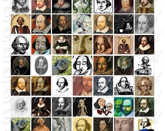 To Be, Or Not To Be - Shakespeare - Inchies, 7-8 inch, AND scrabble tile size .75 x .83 inch - Digital Collage Sheet - INSTANT DOWNLOAD