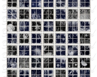 Frosty Windows - 3 sizes - Inchies, 7-8 inch, AND scrabble tile size .75 x .83 inch - Digital Collage Sheet - INSTANT DOWNLOAD