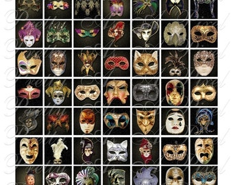 Masquerade Masks - 3 sizes - 7-8 inch, 1 inch, AND scrabble tile size .75 x .83 inch - Digital Collage Sheet - INSTANT DOWNLOAD