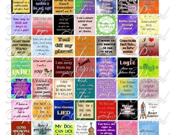 Witticisms and One-Liners - 3 sizes - Inchies, 7-8 inch, AND scrabble tile size .75 x .83 inch - Digital Collage Sheet - INSTANT DOWNLOAD