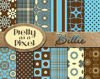 Billie - Retro Aqua and Brown - Digital Paper Pack - INSTANT DOWNLOAD - Scrapbooking Backgrounds - 12 x 12 - Set of 12