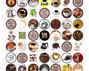 Coffee - One Inch Circles - INSTANT DOWNLOAD - Digital Collage Sheet