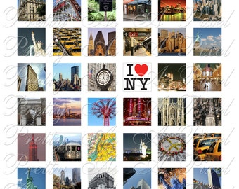 New York City - 3 sizes - Inchies, 7-8 inch, AND scrabble tile size .75 x .83 inch - Digital Collage Sheet - INSTANT DOWNLOAD