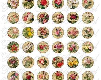 Vintage Roses on Old Letters - One Inch Circles - Digital Collage Sheet - INSTANT DOWNLOAD