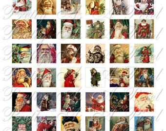 Vintage Santa - 3 sizes - Inchies, 7-8 inch, AND scrabble tile size .75 x .83 inch - Digital Collage Sheet - INSTANT DOWNLOAD