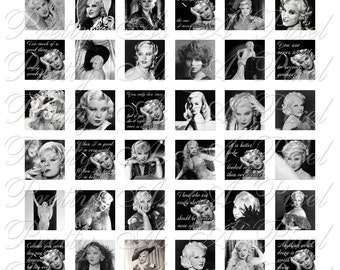 Mae West - For Pendants Magnets - Crafts - 3 sizes - Inchies, 7-8 inch AND .75 x .83 inch - Digital Collage Sheet - INSTANT DOWNLOAD