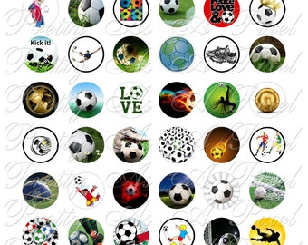 Soccer or Football - One Inch Circles - For Pendants Magnets - Crafts - Digital Collage Sheet - INSTANT DOWNLOAD