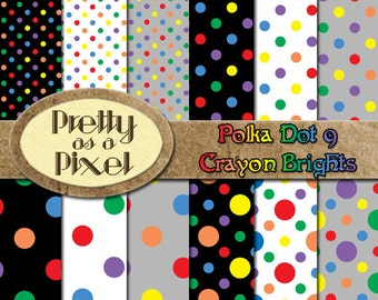Polka Dots 9 - Crayon Brights 5 - INSTANT DOWNLOAD - Digital Paper Pack - Scrapbooking Backgrounds - Set of 12