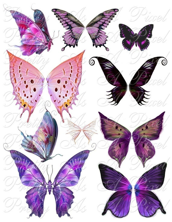 Butterfly Wings In Pink And Purple Set 3 Instant Download