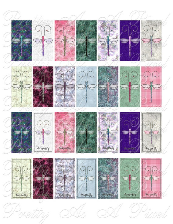 Dragonflies - Domino Size - 1 x 2 inch - Digital Collage Sheet - INSTANT DOWNLOAD