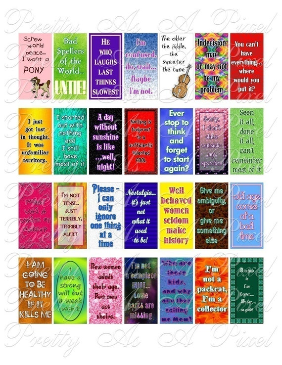 Witticisms and One-Liners - Slogans and Sayings - 1 x 2 inch Domino Size - Digital Collage Sheet - INSTANT DOWNLOAD