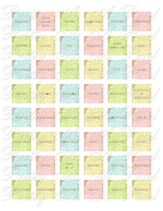 Inspirational Words 2 - Simple Pastels - 2 sizes - Inchies AND scrabble tile size .75 x .83 inch - Digital Collage Sheet - INSTANT DOWNLOAD