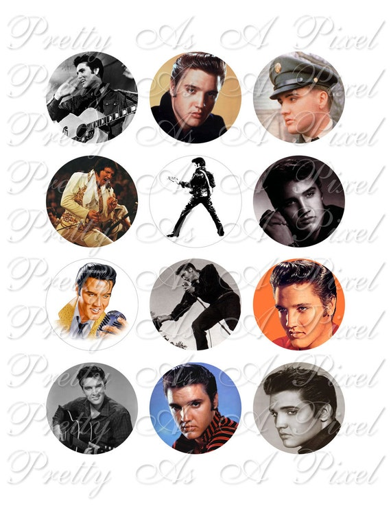 Elvis, the King of Rock & Roll - Two Inch Circles - Digital Collage Sheet - 2 inch - INSTANT DOWNLOAD