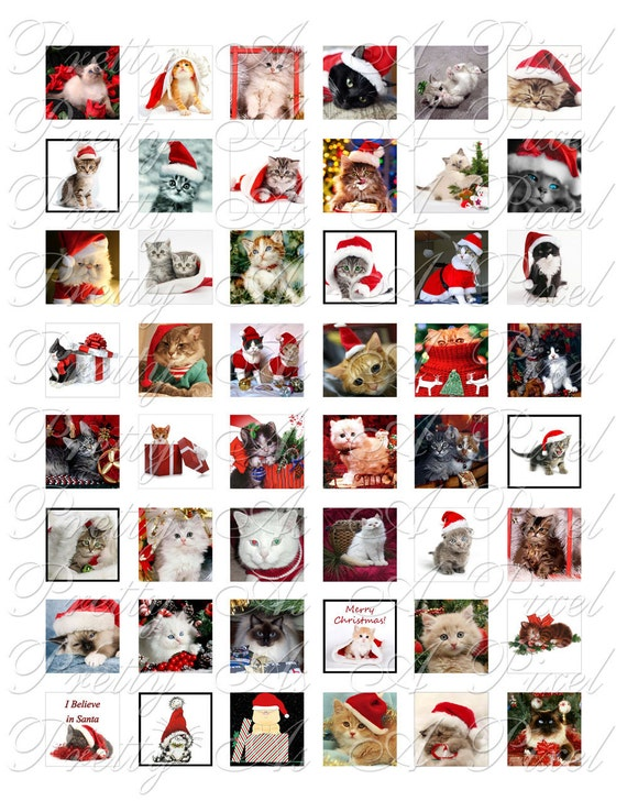 Christmas Kittens - 2 sizes - Inchies AND scrabble tile size .75 x .83 inch - Digital Collage Sheet - INSTANT DOWNLOAD