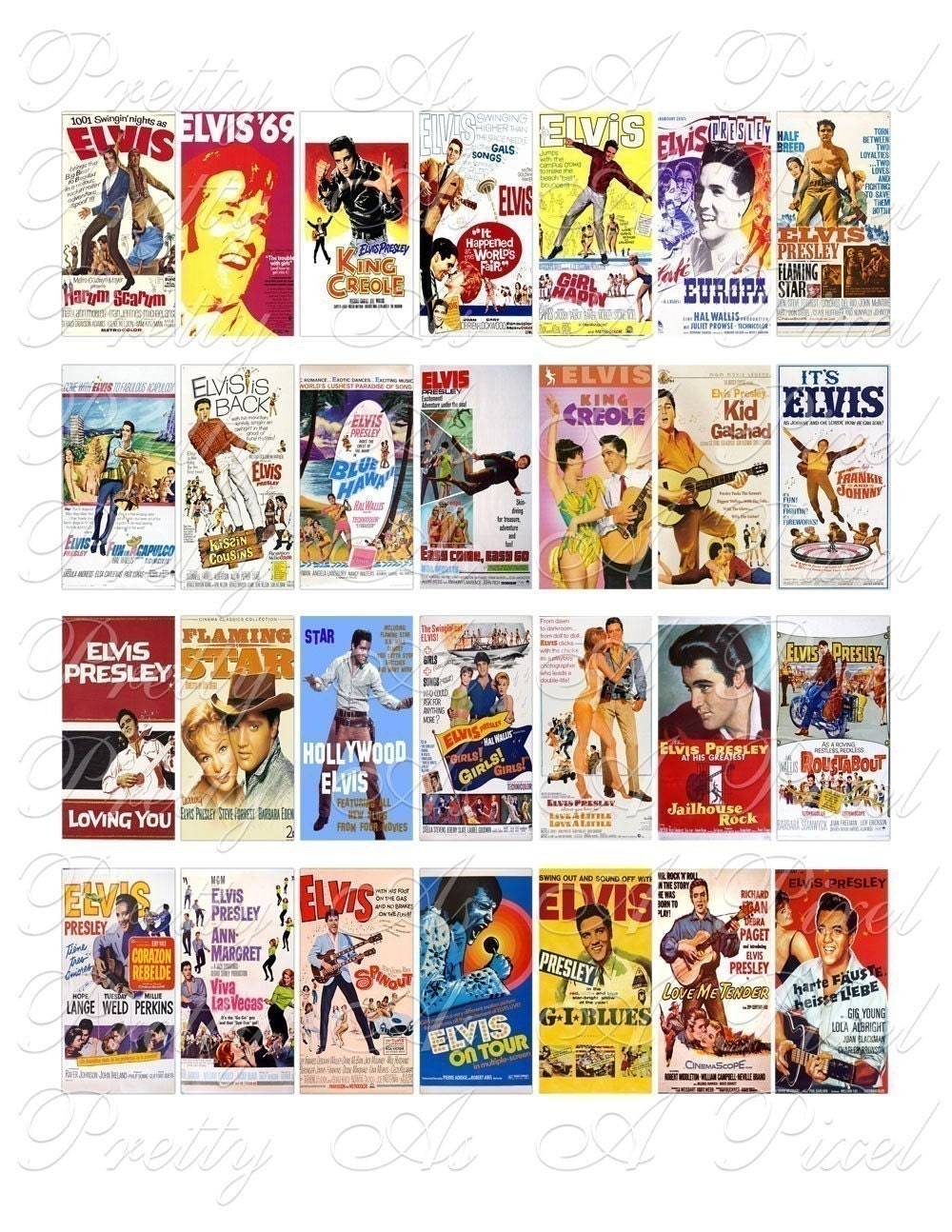 Elvis Presley Movie Posters 1 x 2 inch INSTANT DOWNLOAD