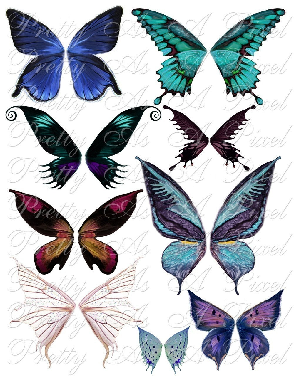 butterfly wings in blue and purple set 1 digital collage