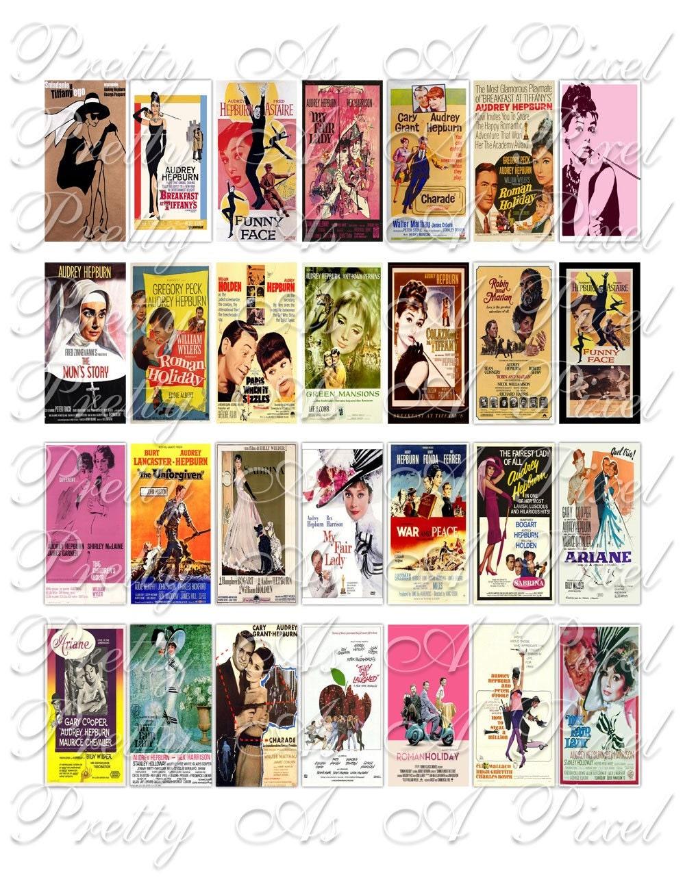 Audrey Hepburn Movie Posters 1 x 2 inch Domino Size