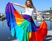Huron Beltaine FireDance- Ultimate Long Upcycled Rainbow T-Shirt Skirt  by SnugglePants- Custom Made for You