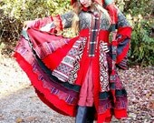 Lussinatten- Upcycled Norwegian Sweater Coat with a Medieval Liripipe Hood and Bell Sleeves by SnugglePants- RESERVED