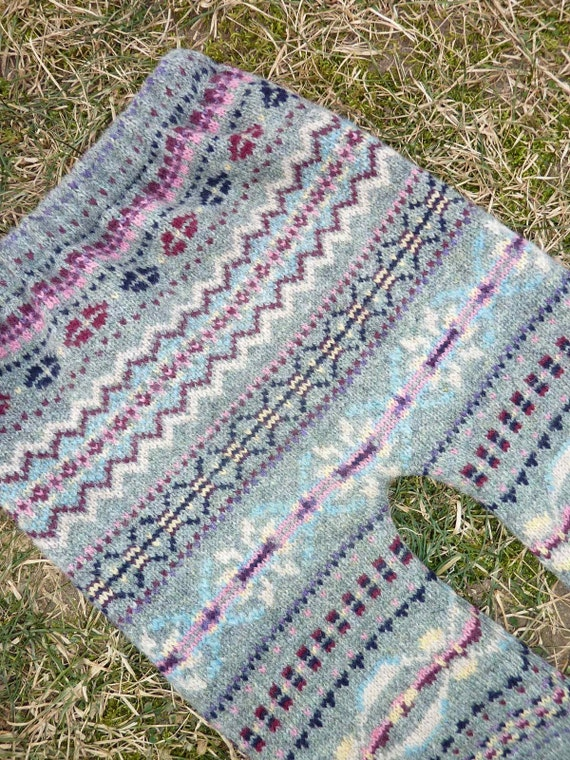 A Winter Garden Fair Isle Longies\/ Upcycled Lambswool Sweater Pants- Pink and Purple Accents- Small