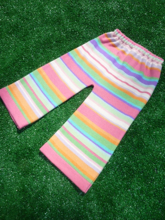 Ultra Femme Rainbow Sorbet Striped Longies/ Upcycled Cashmere blend Sweater Pants- Large