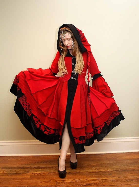 The Libertine- Upcycled Red and Black Sweater Coat with a Medieval Liripipe Hood and Bell Sleeves by SnugglePants- READY TO SHIP
