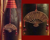 Black and Red Chinese Fan Incense Burner - Upcycled