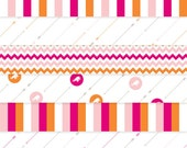 "Luxe Circus PDF Paper Pack in Magenta / Pink / Orange / Taupe - 8 Digital 12 x 12"" Patterns for Papercrafting and Digital Scrapbooking"