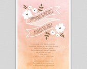 Ornamented Ombre Printable Invitation in Pink / Peach