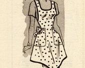 Vintage Style Apron with Angled Hemline