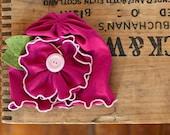 Bright Hot pink MayFlower beanie BABY girls headband - Snugars classic Mayflower hat