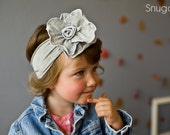 Heather gray Rose Stretch SNUGARS headband hair band girls toddler infant baby gray