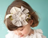 Vintage lace in Silver headband hair band girls toddler infant baby PINK