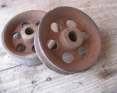 2 Rusty Grungy Metal Wheels