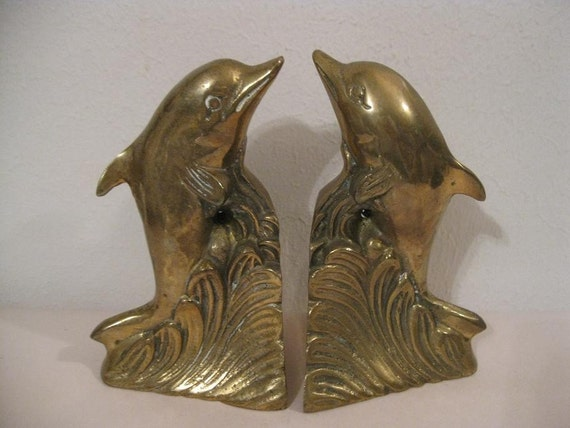 Vintage solid brass dolphin bookends - Antique brass bookends ...