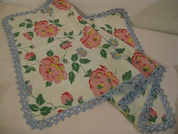 Vintage Table Runner with Crochet Border  ( 2044 )