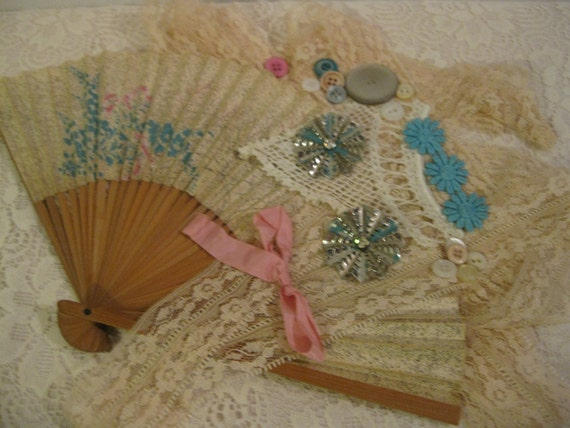 Vintage Hand  Fan and Other Supplies Lot...Projects  ( 2064 )