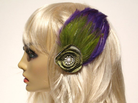 SUPER SALE Purple Feather Hair Clip Green Feathers Green Flower Pin Up Girly Rockabilly Burlesque