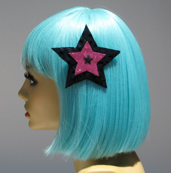 Black Vinyl Star Hair Clip Pink Rockabilly Pin Up Punk Party