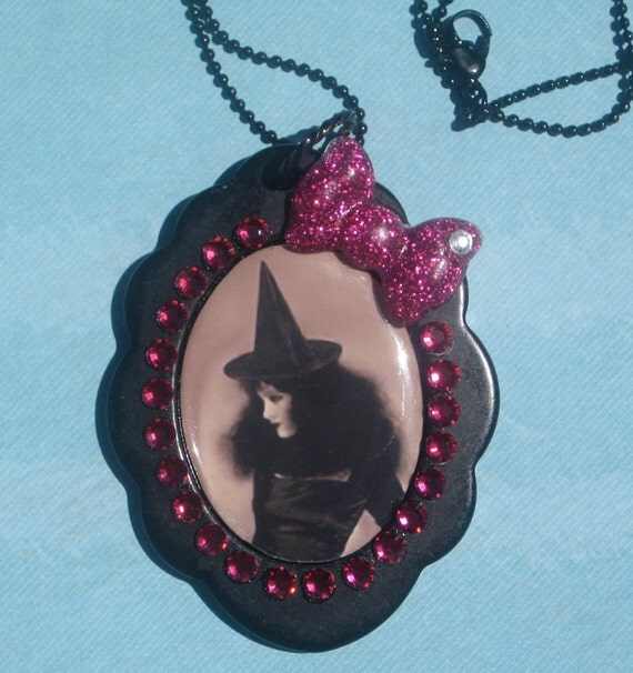 Witch Pendant Halloween Necklace Goth Spooky Kawaii