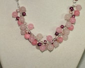 Pink Cluster Chunky Necklace With Freshwater Pearls and Gemstones