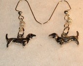 Silver Dachshund Dog Earrings, Dangle, Pierced