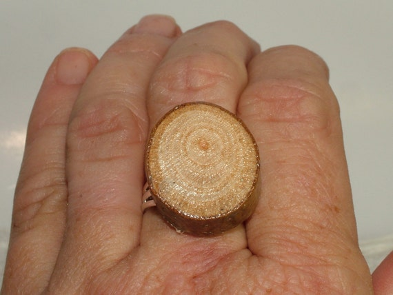 Ring, Adjustable, Sterling Plated with Genuine Sycamore Wood
