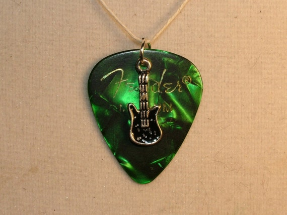 SALE Necklace, Fender Guitar Pick-Green Marbled, and Silver and Black Guitar Charm on Hemp Cord