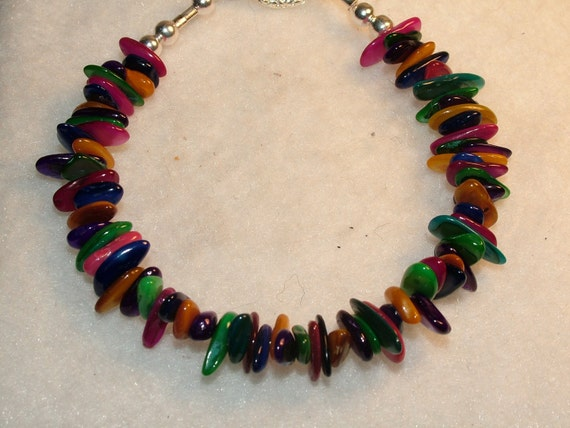 Beautiful Dyed Mother of Pearl Bracelet, Bright Colors