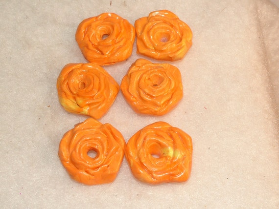 Buttons or Beads, Polymer Clay, Roses, Orange and Yellow Swirl